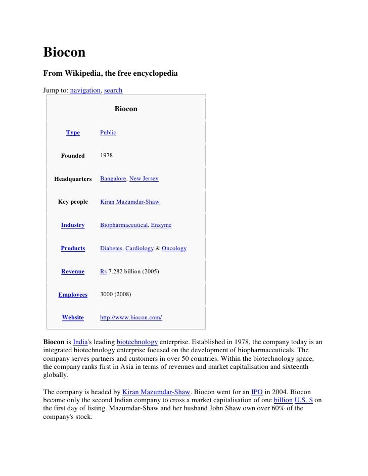 Biocon From Wikipedia, the free encyclopedia  Jump to: navigation, search                            Biocon               ...