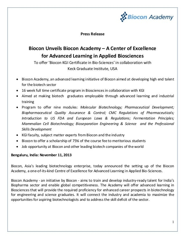 Press Release  Biocon Unveils Biocon Academy – A Center of Excellence for Advanced Learning in Applied Biosciences To offe...