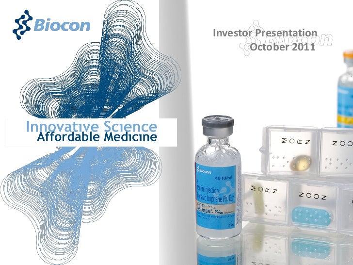 Investor Presentation       October 2011