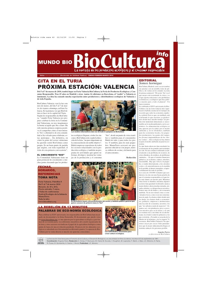 info  MUNDO BIO     Edita: Asociación Vida Sana (Declarada de Utilidad Pública) - ENERO-FEBRERO-MARZO 2010    CITA EN EL T...