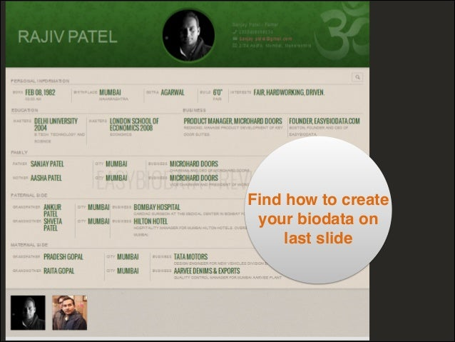 Sample Indian marriage biodata format - Made with easyBiodata.com