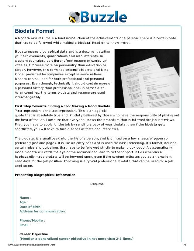 How To Make Biodata Pdf - eBook and Manual Free download