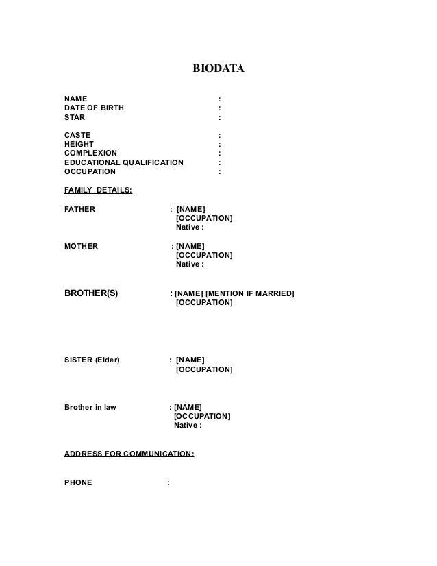 marital biodata