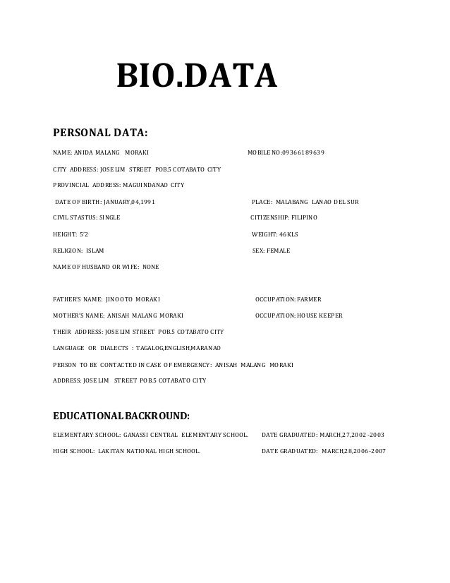 Biodata Sample Format For Job Application Bestsellerbookdb