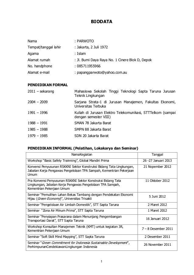 Biodata parwoto januari 2013