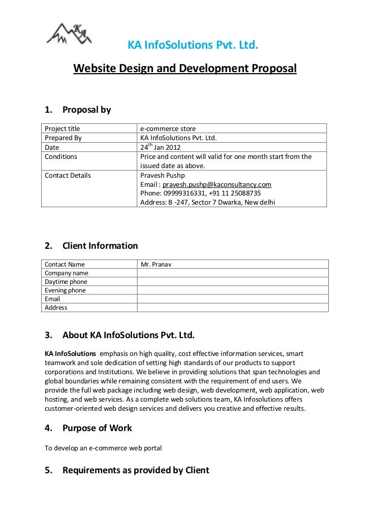 KA InfoSolutions Pvt. Ltd.         Website Design and Development Proposal1.    Proposal byProject title                  ...