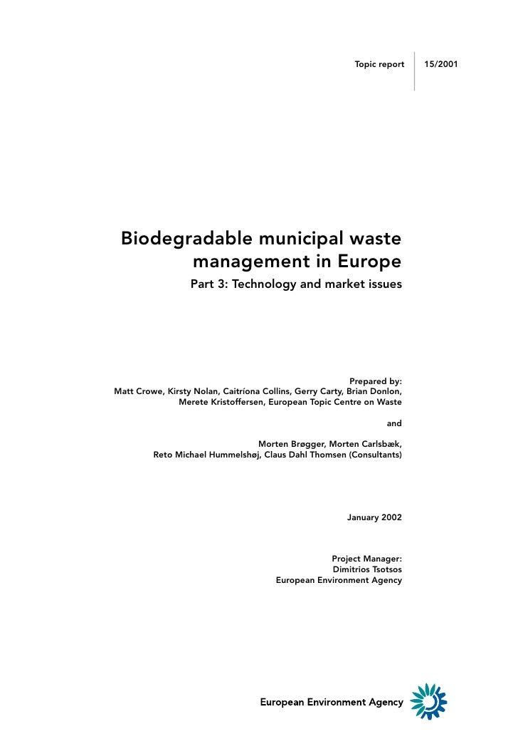 1                                                           Topic report    15/2001 Biodegradable municipal waste        m...
