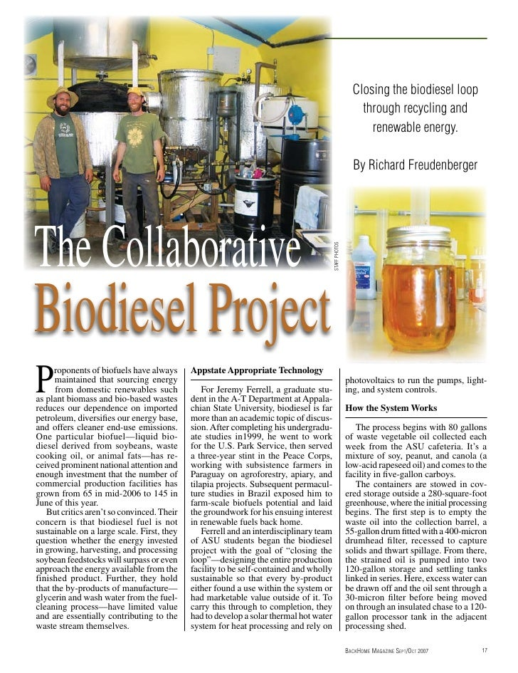 Closing The Biodiesel Loop Through Recycling and Renewable Energy