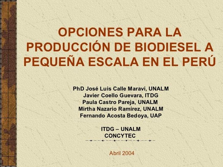 OPCIONES PARA LA PRODUCCIÓN DE BIODIESEL A PEQUEÑA ESCALA EN EL PERÚ PhD José Luis Calle Maraví, UNALM Javier Coello Gueva...
