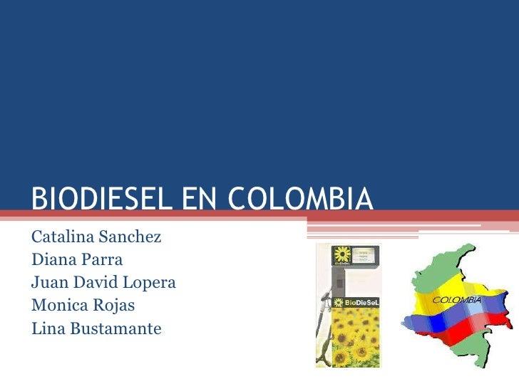 BIODIESEL EN COLOMBIA <br />Catalina Sanchez<br />Diana Parra<br />Juan David Lopera<br />Monica Rojas<br />Lina Bustamant...