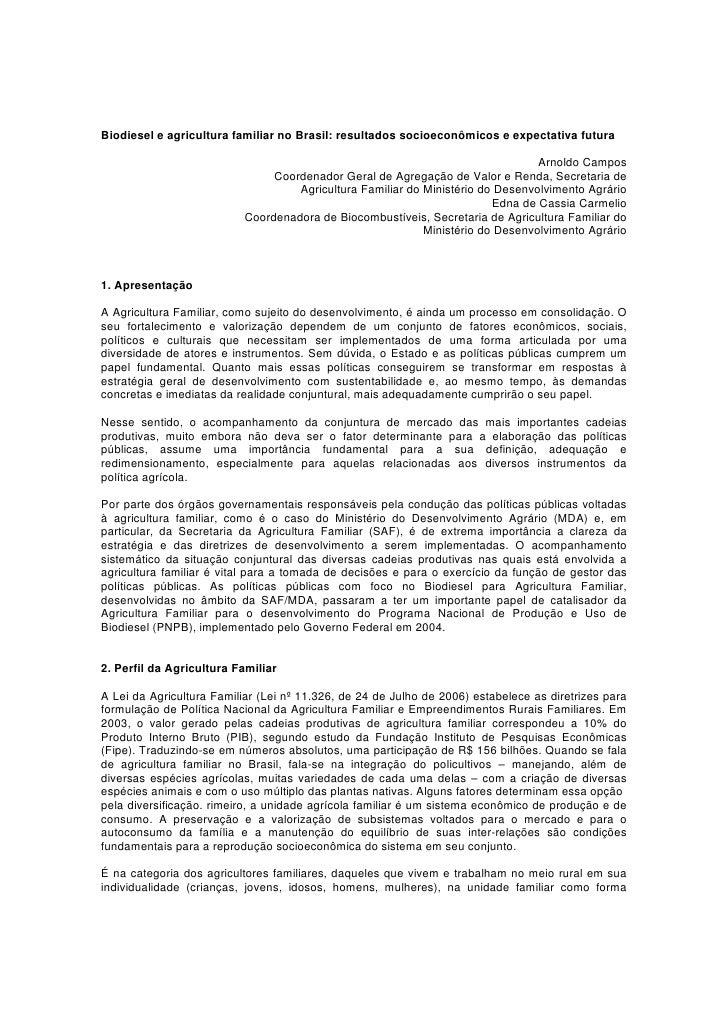 Biodiesel e agricultura familiar no Brasil: resultados socioeconômicos e expectativa futura                               ...