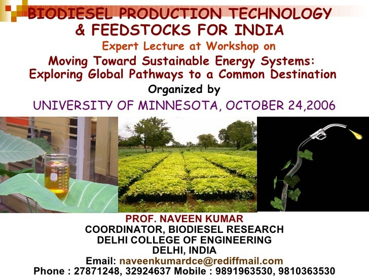 BIODIESEL PRODUCTION TECHNOLOGY & FEEDSTOCKS FOR INDIA PROF. NAVEEN KUMAR COORDINATOR, BIODIESEL RESEARCH DELHI COLLEGE OF...
