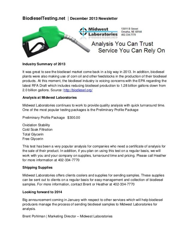 BiodieselTesting.net | December 2013 Newsletter  Industry Summary of 2013 It was great to see the biodiesel market come ba...