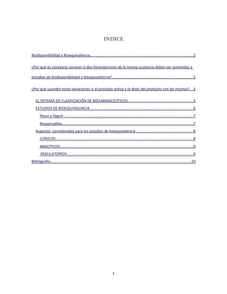 Biodisponibilidad Y Bioequivalencia Indice