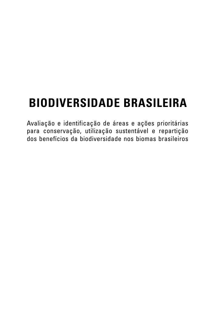 BIODIVERSIDADE BRASILEIRAAvaliação e identificação de áreas e ações prioritáriaspara conservação, utilização sustentável e...