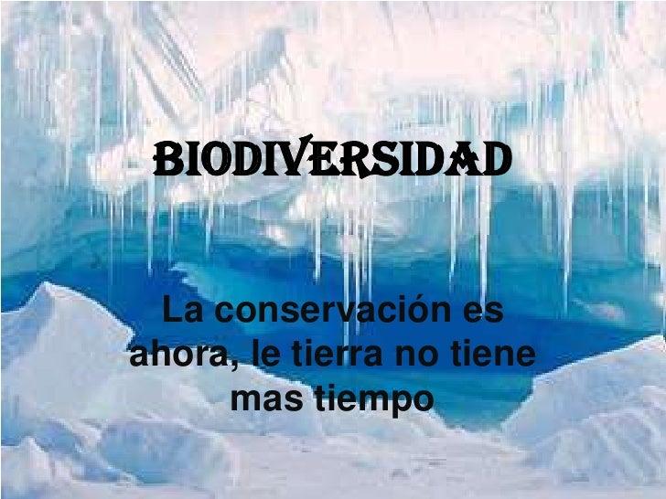 biodiversidad<br />La conservación es ahora, le tierra no tiene mas tiempo<br />