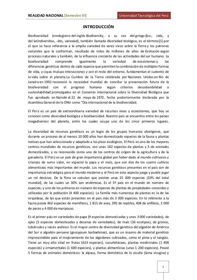 REALIDAD NACIONAL [Semestre VI]  Universidad Tecnológica del Perú  INTRODUCCIÓN Biodiversidad (neologismo del inglés Biodi...