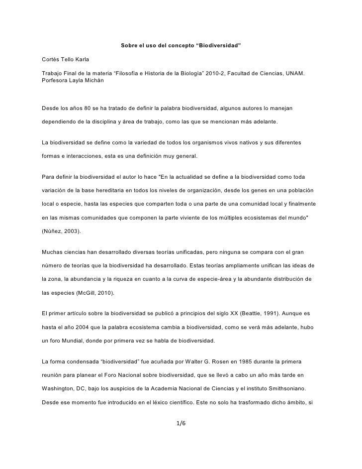 "Sobre el uso del concepto ""Biodiversidad""  Cortés Tello Karla  Trabajo Final de la materia ""Filosofìa e Historia de la Bio..."