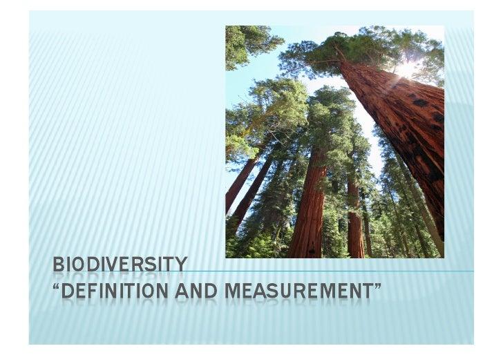 Biodiversity And Measurement