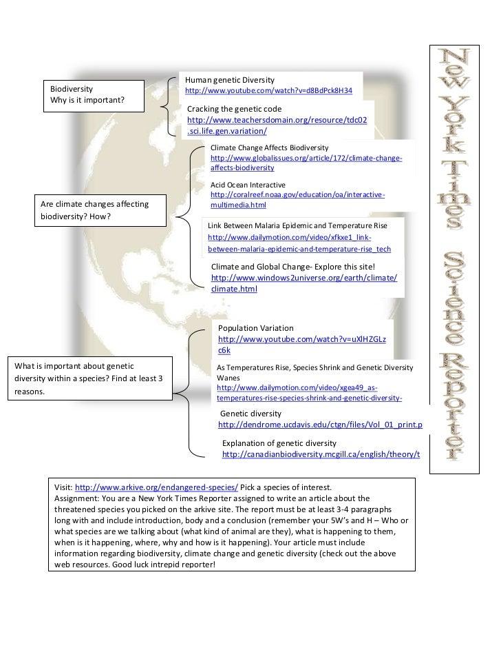 Human genetic Diversity          Biodiversity                        http://www.youtube.com/watch?v=d8BdPck8H34          W...
