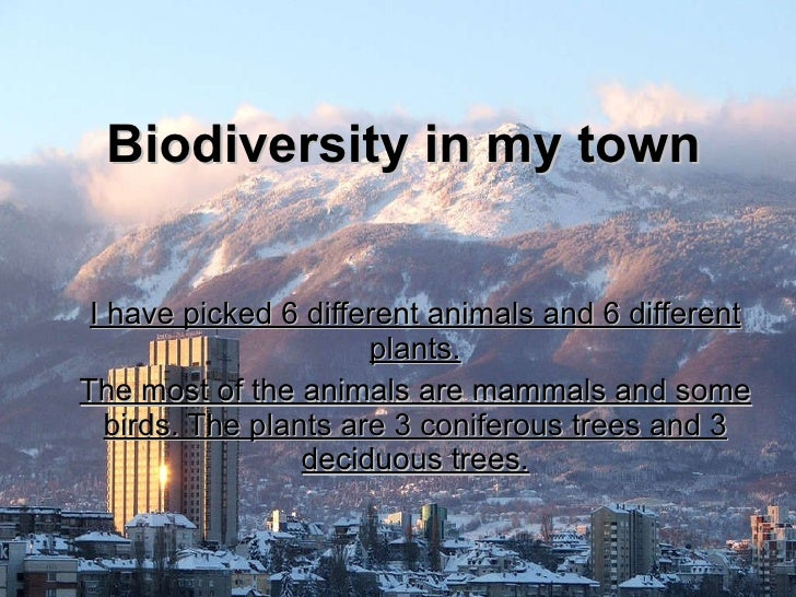 Biodiversity in my town I have picked 6 different animals and 6 different plants. The most of the animals are mammals and ...