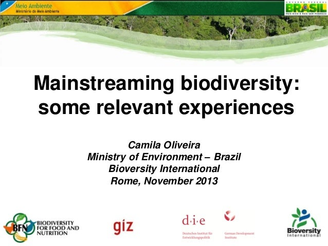 Mainstreaming biodiversity: some relevant experiences Camila Oliveira Ministry of Environment – Brazil Bioversity Internat...