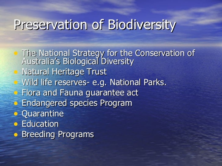 National strategy for the conservation of australia's biological diversity 1996