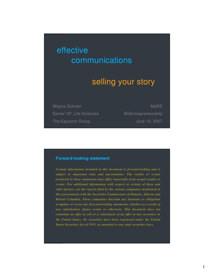 effective       communications                              selling your story  Wayne Schnarr                             ...