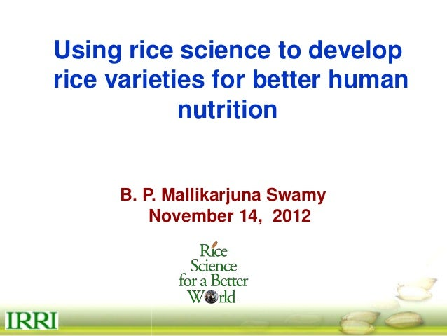 Biofortification of rice -  swamy