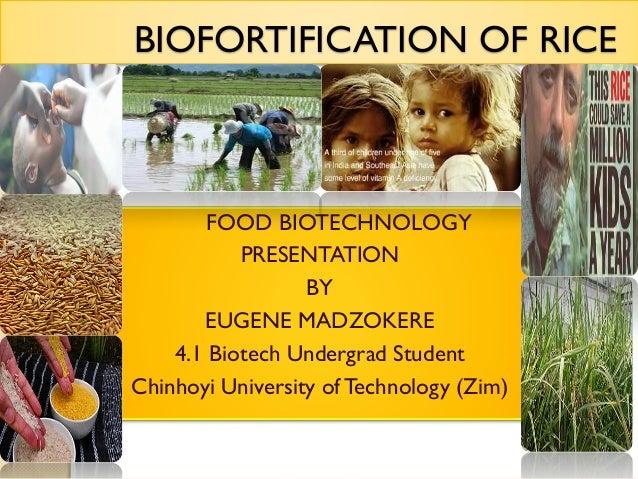 BIOFORTIFICATION OF RICE  FOOD BIOTECHNOLOGY PRESENTATION BY EUGENE MADZOKERE 4.1 Biotech Undergrad Student Chinhoyi Unive...
