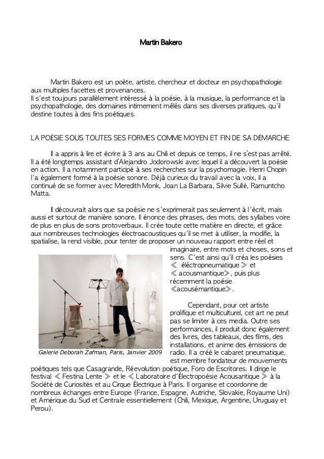 Martin Bakero Martin Bakero est un poète, artiste, chercheur et docteur en psychopathologie aux multiples facettes et prov...