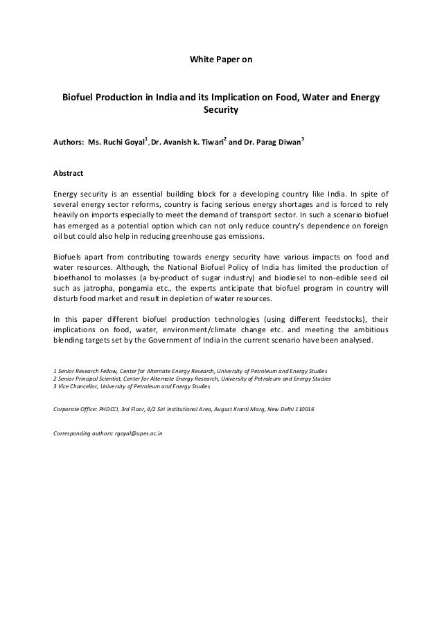 Biofuel production in india and its implication on food, water and energy security abstract