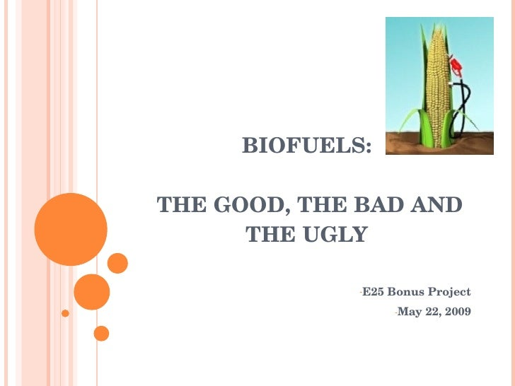BIOFUELS:   THE GOOD, THE BAD AND         THE UGLY                 ­E25 Bonus Project                      ­May 22, 2009
