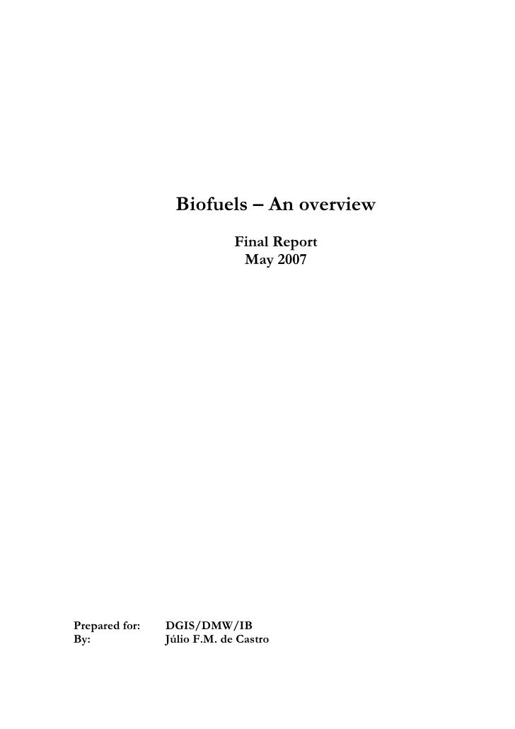 Biofuels – An overview                              Final Report                               May 2007     Prepared for: ...