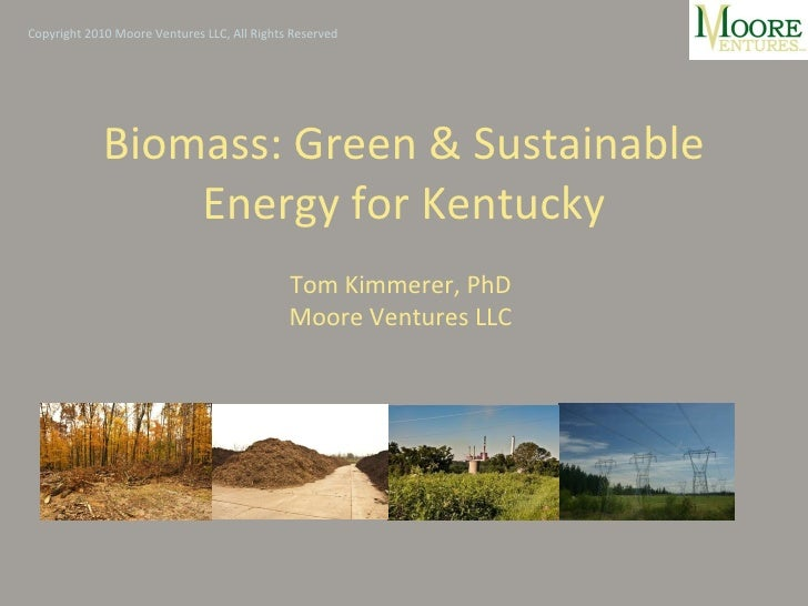 Biomass: Green & Sustainable Energy for Kentucky Tom Kimmerer, PhD Moore Ventures LLC Copyright 2010 Moore Ventures LLC, A...