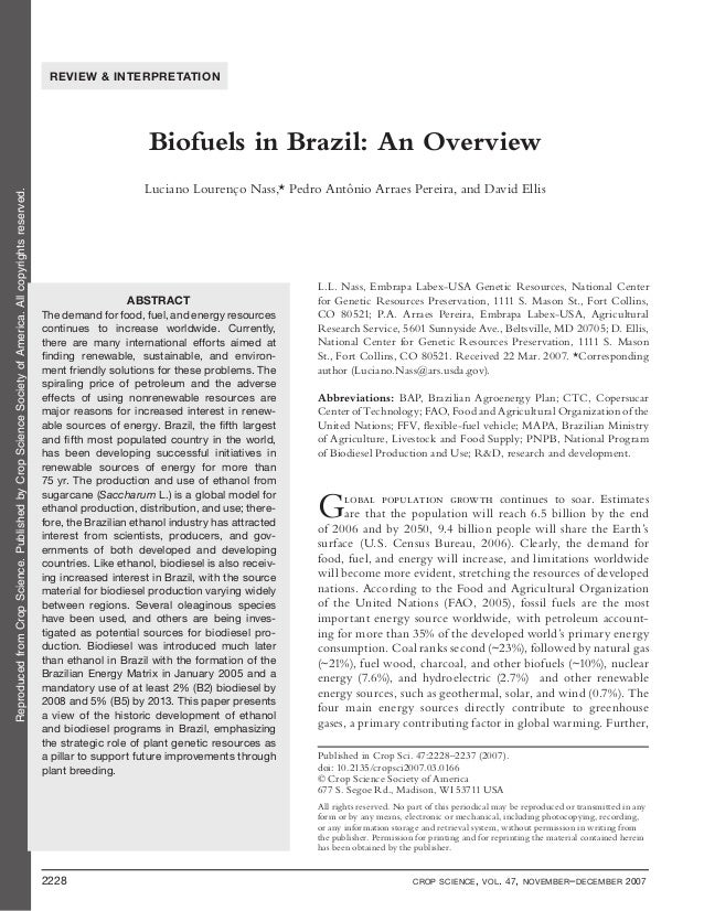 Biofuels in brazil an overview