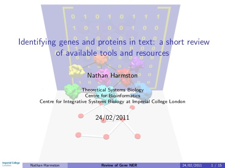 Identifying genes and proteins in text: a short review           of available tools and resources                         ...