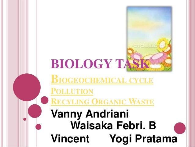 BIOLOGY TASKBIOGEOCHEMICAL CYCLEPOLLUTIONRECYLING ORGANIC WASTEVanny Andriani   Waisaka Febri. BVincent   Yogi Pratama