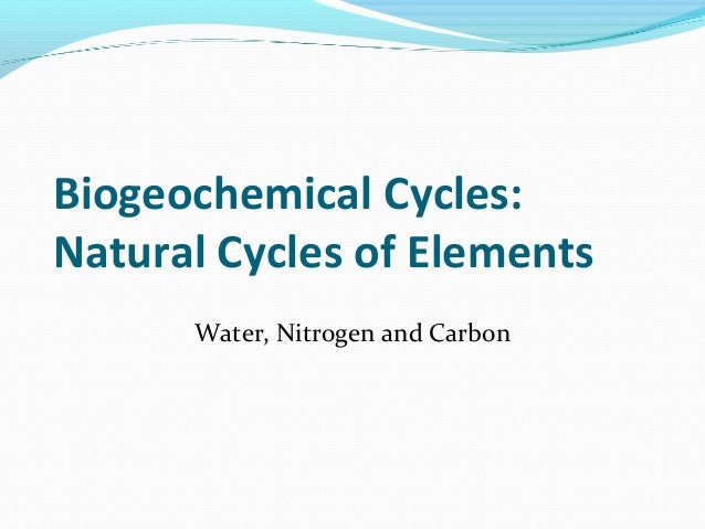 Biogeochemical Cycles: Natural Cycles of Elements Water, Nitrogen and Carbon