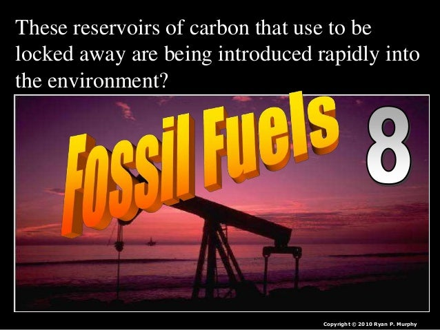 These reservoirs of carbon that use to be locked away are being introduced rapidly into the environment? Copyright © 2010 ...