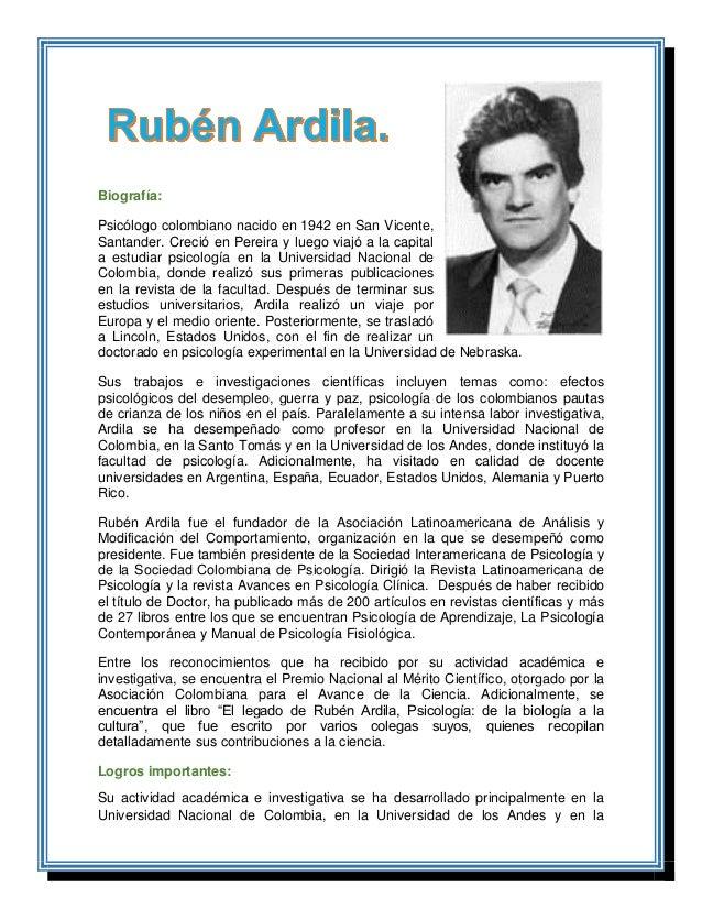 Biografía: Psicólogo colombiano nacido en 1942 en San Vicente, Santander. Creció en Pereira y luego viajó a la capital a e...