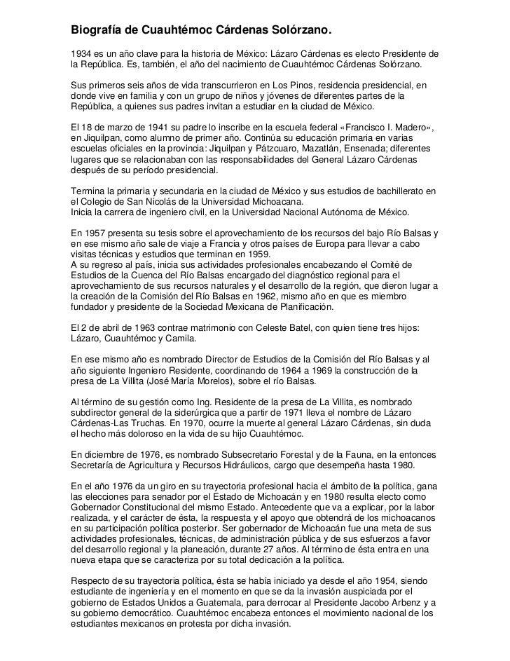 Biografía de Cuauhtémoc Cárdenas Solórzano.1934 es un año clave para la historia de México: Lázaro Cárdenas es electo Pres...