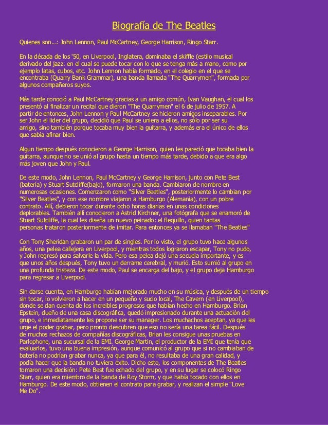 Biografía de the beatles