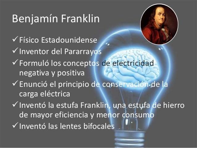 Resultado de imagen para benjamin franklin carga positiva negativa