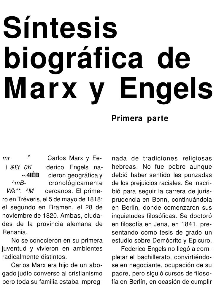 Síntesisbiográfica deMarx y Engels                                        Primera parte          xmr                Carlos...