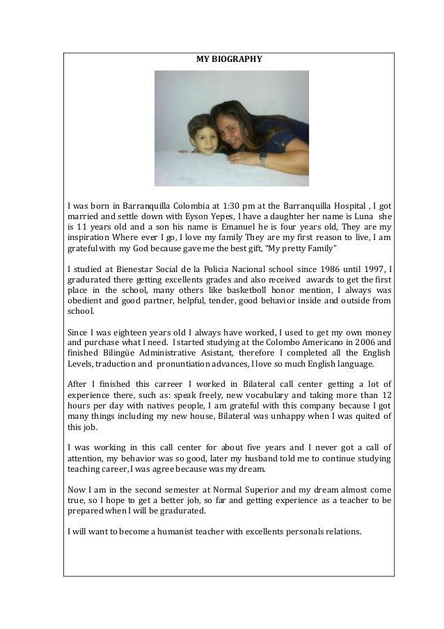 моя биография топик на английском языке