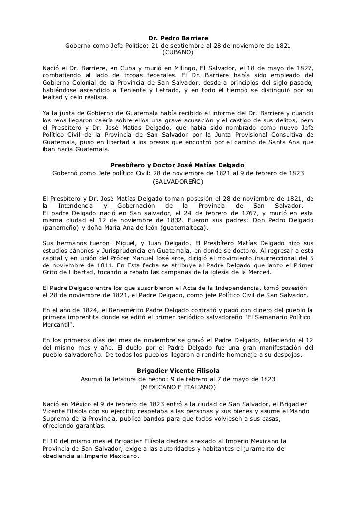 Dr. Pedro Barriere        Gobernó como Jefe Político: 21 de septiembre al 28 de noviembre de 1821                         ...