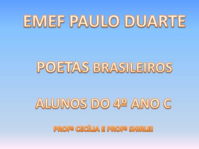 Biografia Este consagrado poeta brasileiro nasceu em Itabira, Minas Gerais no ano de 1902. Tornou-se, pelo conjunto de sua...