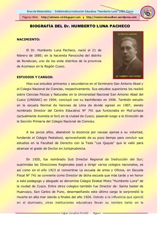 """Área de Matemática - Emblemática Institución Educativa """"Humberto Luna"""" UGEL Cusco Edgar Zavaleta Portillo - Página 1 Págin..."""