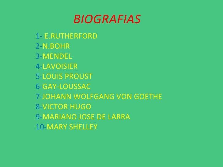 BIOGRAFIAS 1-  E.RUTHERFORD 2- N.BOHR 3- MENDEL 4- LAVOISIER 5- LOUIS PROUST 6- GAY-LOUSSAC 7- JOHANN WOLFGANG VON GOETHE ...